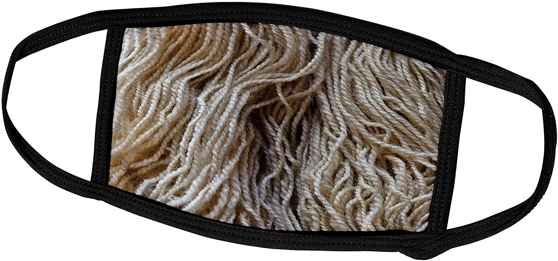 3dRose Alexis Photography - Objects Handicraft - Threads of White or Beige Woolen Yarn. Handcraft Supplies - Face Masks (fm_309169_2)