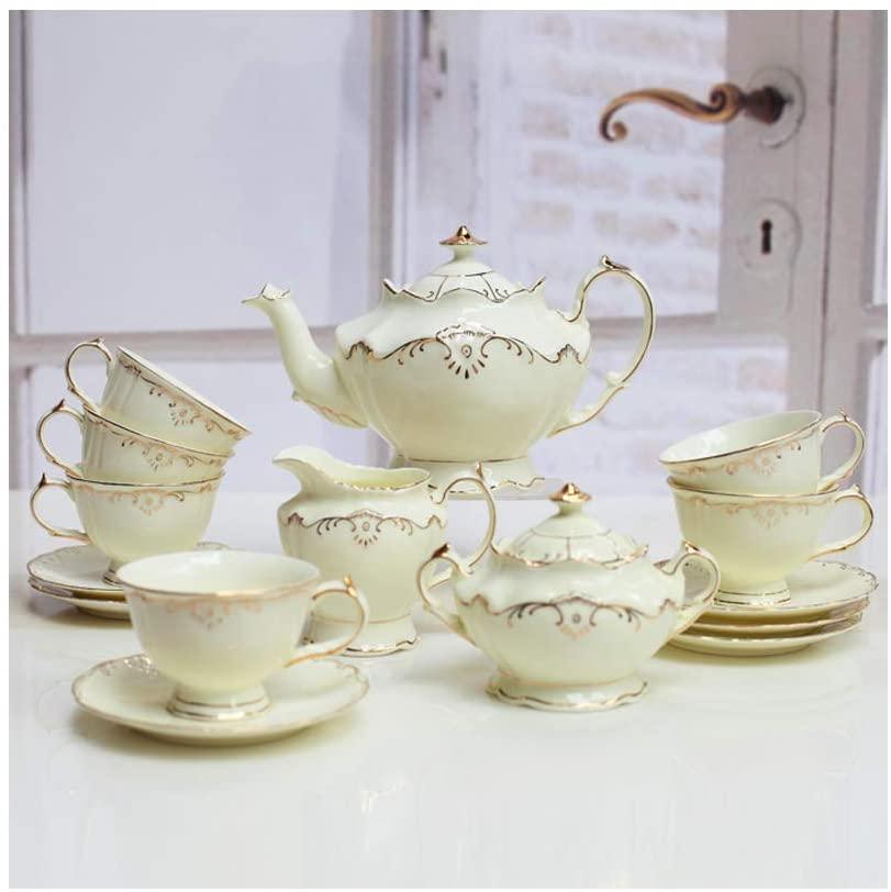 NAFE 15-Piece Coffee Set, Ceramic English Black Tea Set, Scented Tea Afternoon Tea, Ceramic Palace Retro High-End Luxury European Coffee Cup-Beige