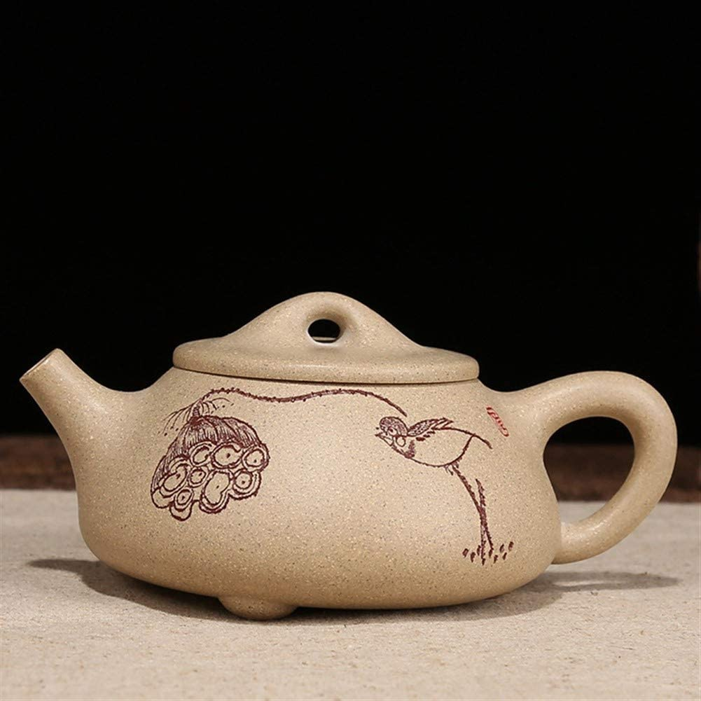 Bin Zhang teapot kung fu tea sets hand-carving stone scoop (Color : Purple mud)