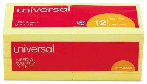 Universal Standard Self-Stick Notes, 3 x 3, Yellow, 100-Sheet Pads, 12 Pads ES