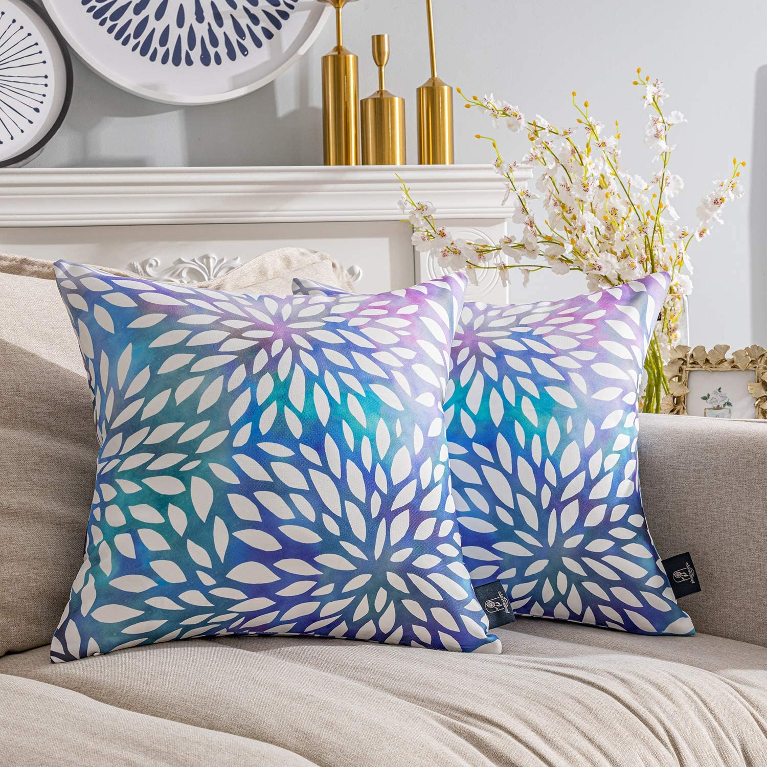 Phantoscope Pack of 2 New Living Series Gradient Petals Double Side Print Decorative Throw Pillow Case Cushion Cover, Purple, 18 x 18 inches, 45 x 45 cm