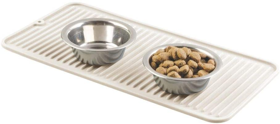 mDesign Premium Quality Pet Food and Water Bowl Feeding Mat for Dogs and Puppies - Waterproof Non-Slip Durable Silicone Placemat - Food Safe, Non-Toxic - Small - Cream/Beige