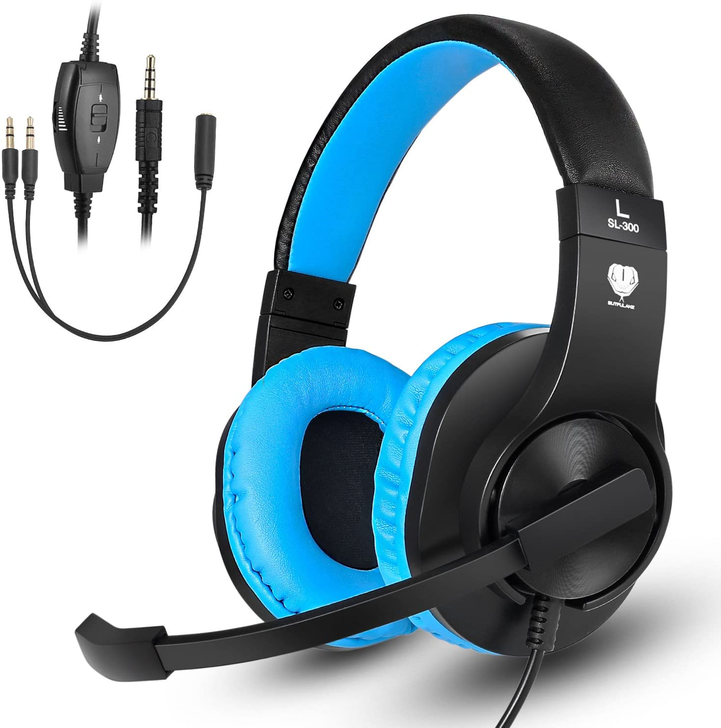 ShinePick 3.5mm PS4 Gaming Headset with Microphone and Volume Control Compatible with PS4, New Xbox One, Xbox One S, Xbox One X, Nintendo Switch, PC(Blue)