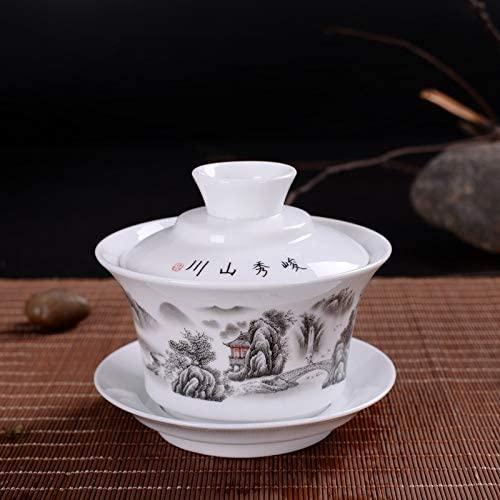 Bin Zhang Large 4.5 inch high white porcelain ceramic tureen King kung fu tea bowl covered tea cup Mio (Color : Junxiu Mountains)