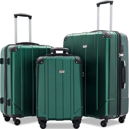XLO 3PCS Expandable Luggage with Spinner Wheels, Hand Trolley Case Spinner Hardshell Lightweight TSA Lock Spinner (Color : Green, Size : 28inches)