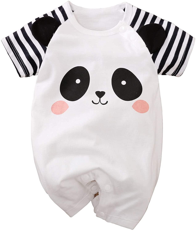 Kids Unisex Baby Boy Girl Summer Onesies Clothes Short Sleeves Cartoon Animals Toddles Romper Cotton Bodysuits 0-24M