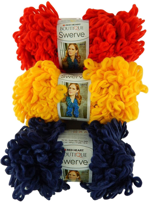 Red Heart Swerve Super Bulky Yarn Bundle 3 Skeins Navy Blue, Red, Gold