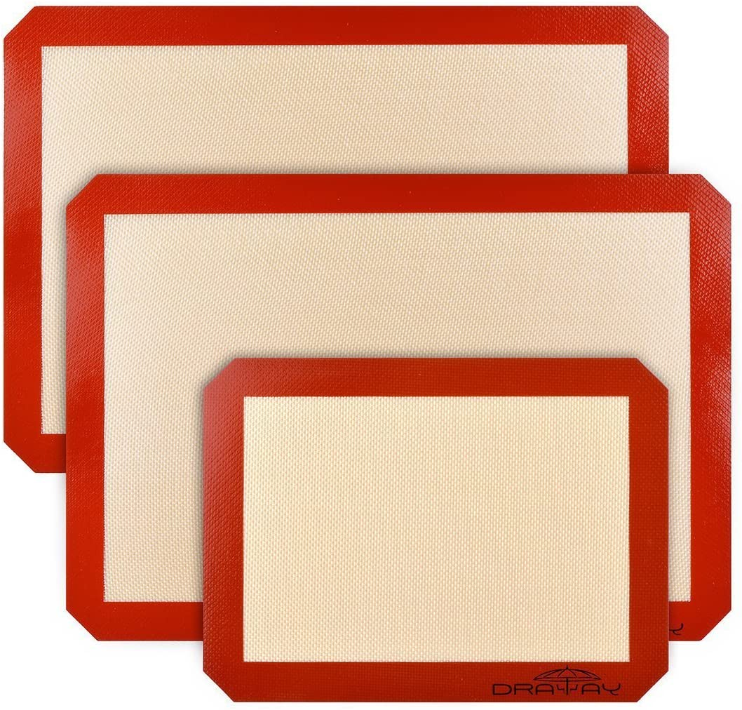 Silicone Baking Mats Stick Non-Slip Washable Reusable Heat-Resistant,Easy to clean,Set of 3, Food-Grade (RED, Set of 3)