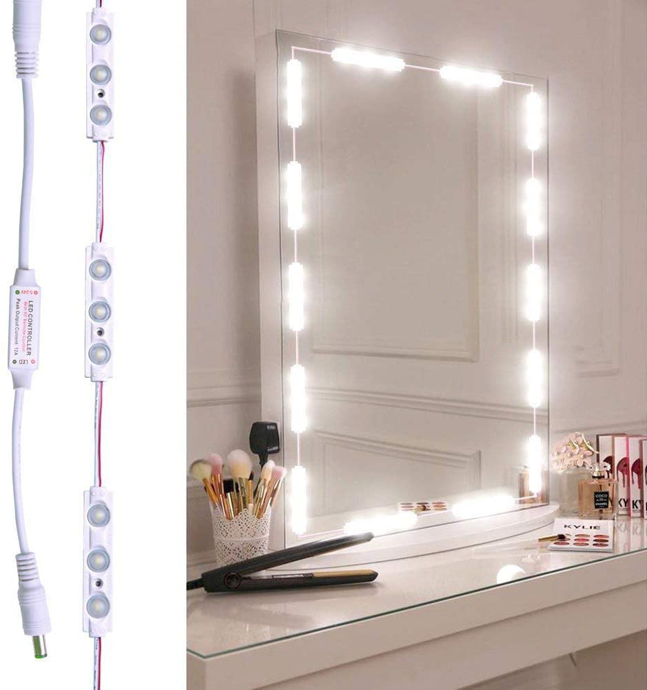 Makeup Mirror Lights, 5000K Dimmable IP65 Waterproof Vanity Mirror Lights Stick on 12V Plug in for Desk Bookshelf Kitchen CabineVanity Table,10LED