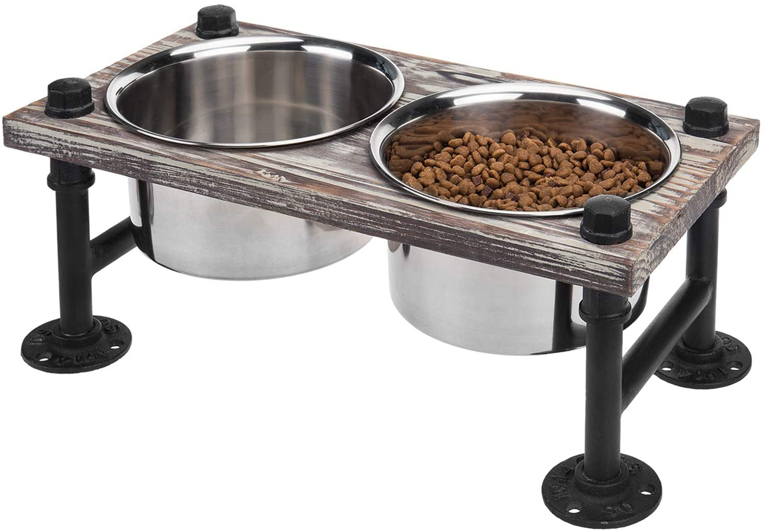 MyGift Torched Wood & Industrial Metal Elevated Double Pet Feeder Stand with 2 Stainless Steel Bowls