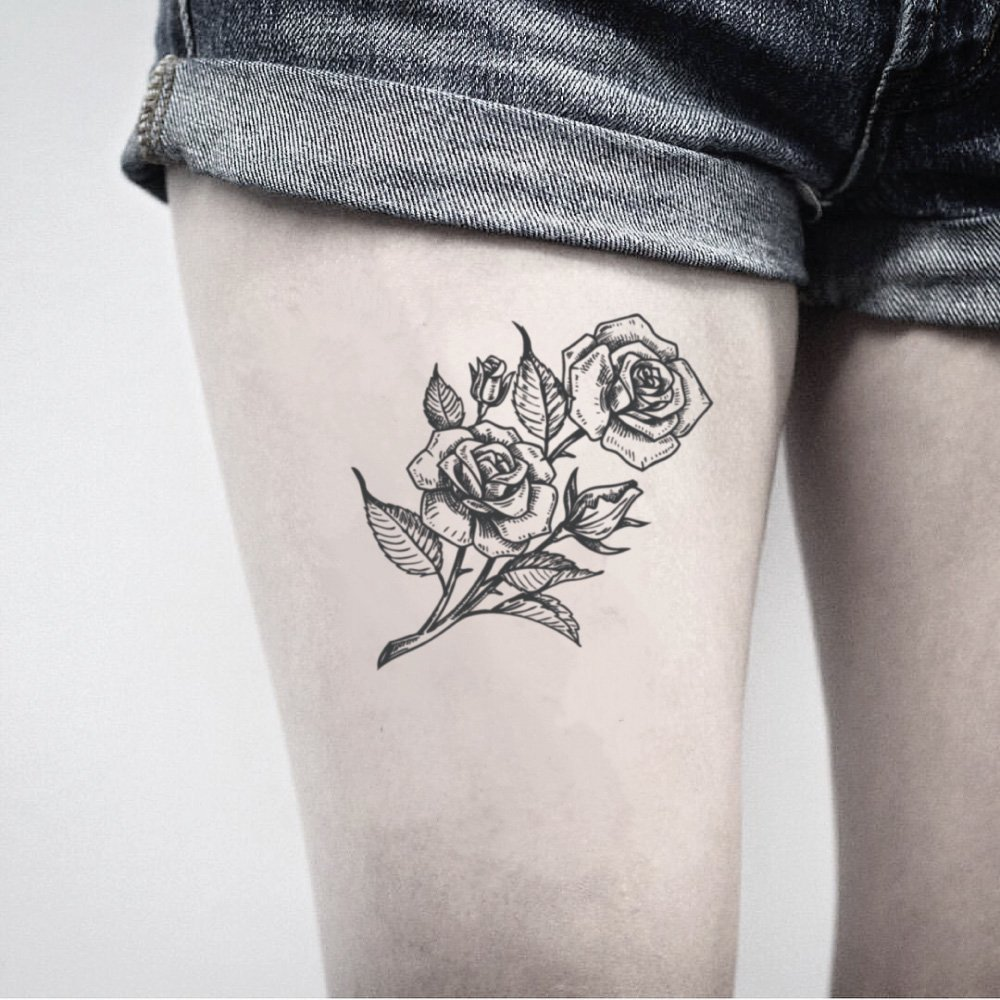 Rose Temporary Fake Tattoo Sticker (Set of 2) - www.ohmytat.com