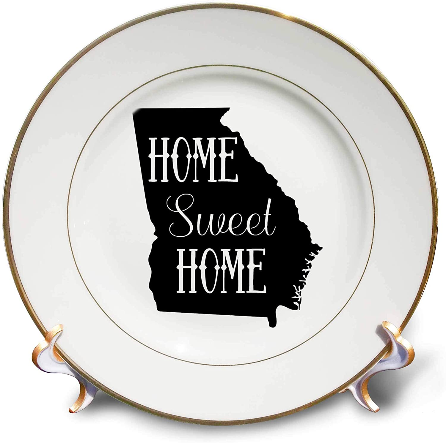 3dRose Stamp City - Typography - Home Sweet Home Inside The State of Georgia. White Background. - 8 inch Porcelain Plate (cp_323955_1)