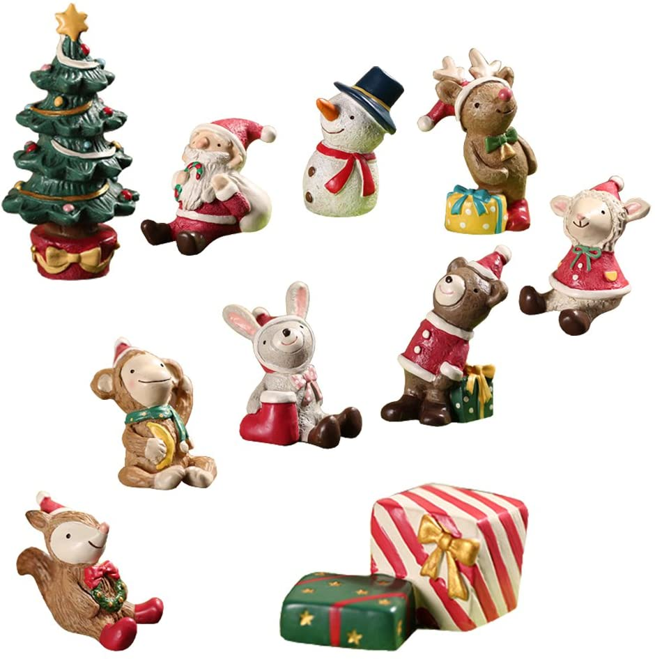 LUCKSTAR 10pcs Micro Landscape Flowerpot Resin Christmas Crafts Decor Small Ornaments Miniature Resin Decoration Artificial Small Animal Santa Claus Tree Ornaments Bonsai DIY Toys