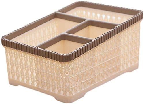 DSWSSH Decorative Jewelry Boxes Cosmetic Storage Box Desktop Imitation Rattan Plastic Without Cover Sundries Storage Basket DSWSSH-H0Z0P1H (Color : Khaki)