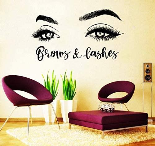 BYRON HOYLE Eyelashes Decal,Eyelashes Eye Decal,Eyelashes Eye Sticker,Girls Eyes,Eyebrows Decal,Brow Bar Decal,Beauty Salon Decal,Make Up Decal rta2006