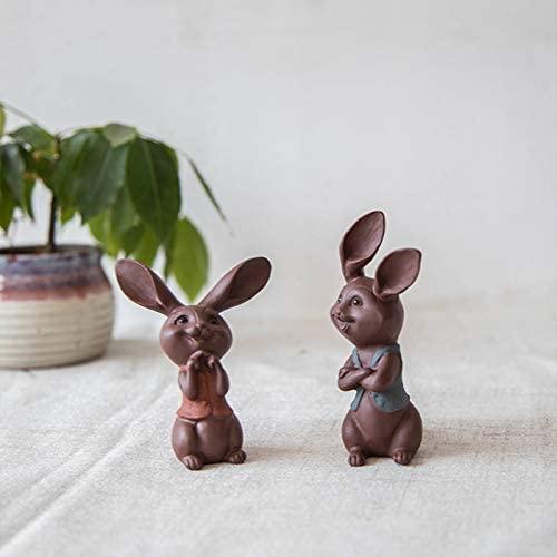 Chinese Yixing Pure Clay Zisha Tea Pet Couple Rabbit Tea Ceremony Decoration Lovers/Friendship Gift