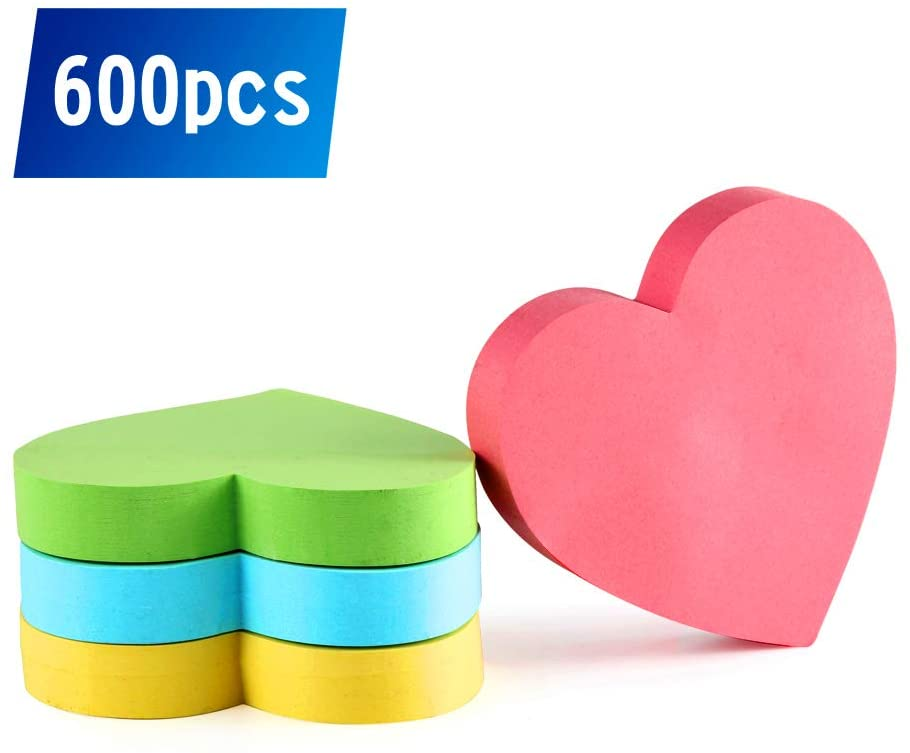 Heart Sticky Notes 3.5 x 3.5inch, 600 Sheets. Strong Adhesive and Colored Sticky Notes with Tabs. Funny Sticky Notes are Great for Sticking in All Kinds of Places