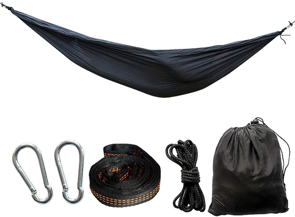 KKLTDI for Backpacking Camping Travel Beach,Double Camping Hammock,Lightweight Nylon Portable Hammock,Parachute Double Hammock Black 300x200cm(118x79inch)