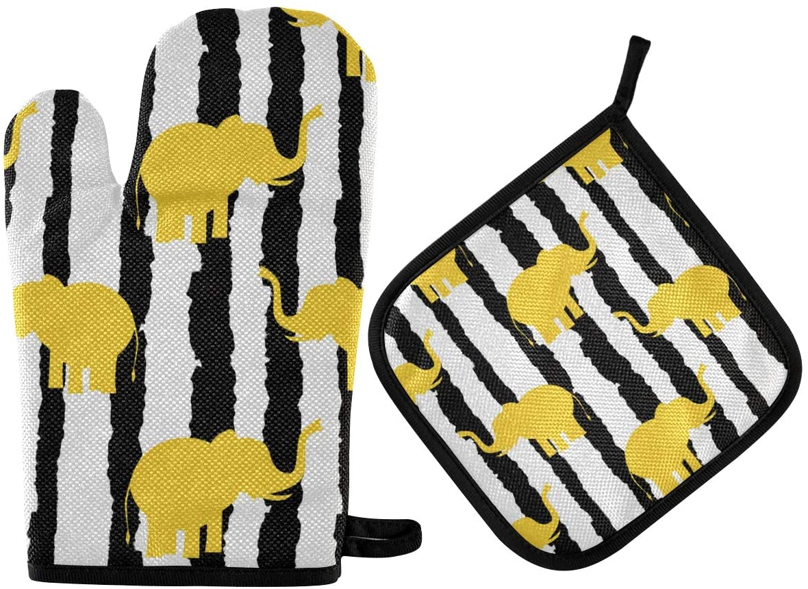 DOMIKING Oven Mitts Pot Holders Sets - Cute Yellow Elephants Oven Gloves Heat Resistant Hot Pads Non-Slip Potholders for Kitchen Cooking Baking BBQ