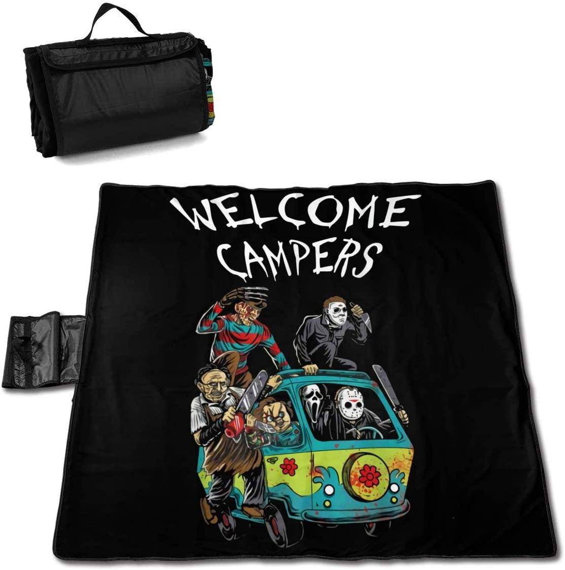 Welcome Campers Portable Printed Picnic Blanket Waterproof 59x57(in)