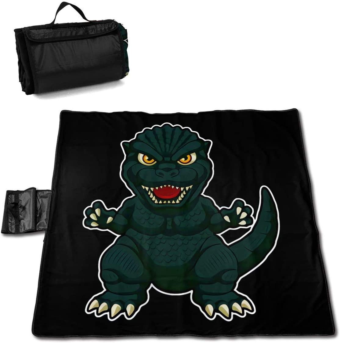 Kelo Cute Cartoon Little Dinosaur Portable Printed Picnic Blanket Waterproof 59x57(in)
