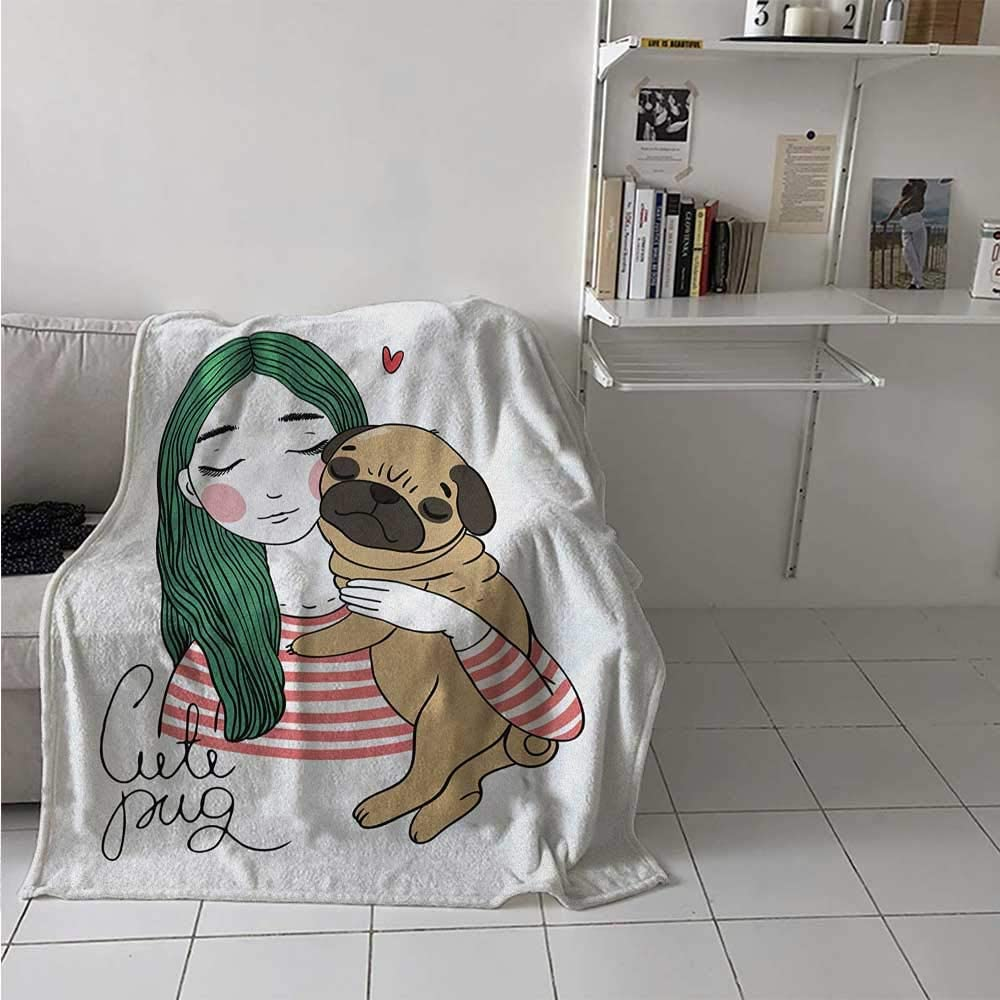 painting-home Soft Blanket Cute Dog with Lovely Girl Loving Your Pets Bonding with The Animals All Seasons Thin Quilt Enjoy Quality Sleep Anywhere Forest Green Pale Brown Pink 50 x 60 Inch