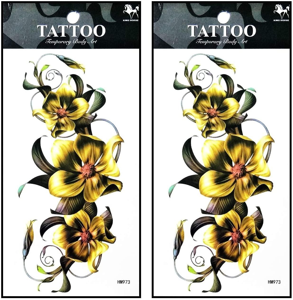 Tattoos 2 Sheets Gold Wild Orchid Sunflower Temporary Tattoos for Adult Men Women Kids Waterproof Temporary Tattoo Fake Tattoos Body Art Sticker for Kid Teens Men Women