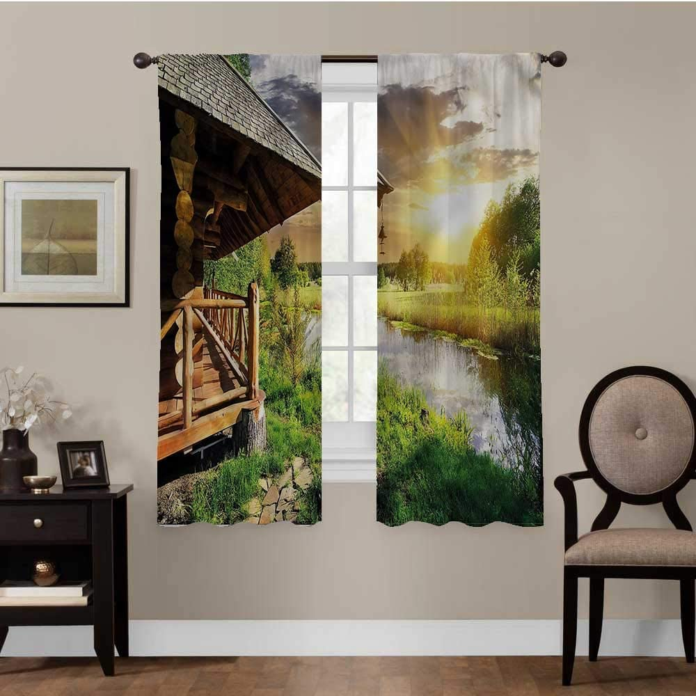 RUGSMAT Nature, Room Divider Curtain Screen Wooden House by The Lake for Nursery, Bedroom, Living Room, Set of 2 Panels (26 x 63 Inch)
