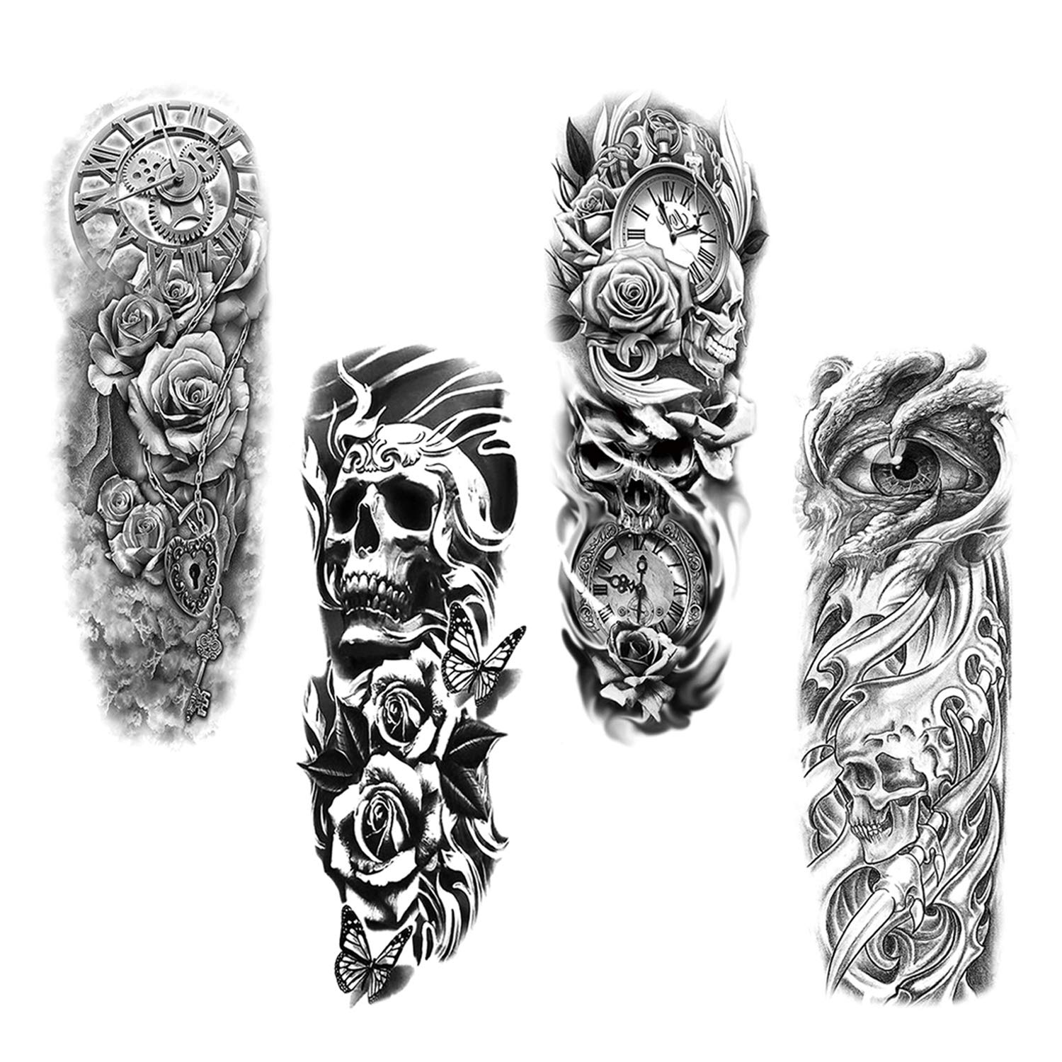 HOWAF Full Arm Temporary Tattoo, 4 Sheets Large Size Temporary Tattoo Transfer Stickers Black Tattoo Sleeve Rose Skull Fake Arm Tattoos for Man, Women, Waterproof, Removable, Realistic