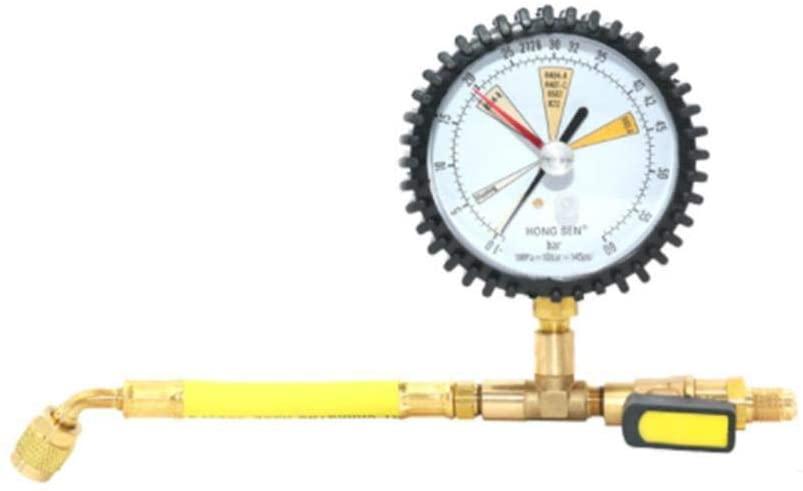 Jungles Nitrogen Pressure Gauge,Nitrogen Pressure Maintaining Meter Air Conditioning Refrigeration Storage Pressure Gauge for R134a, R22, R407C, R410A - 0-60Bar