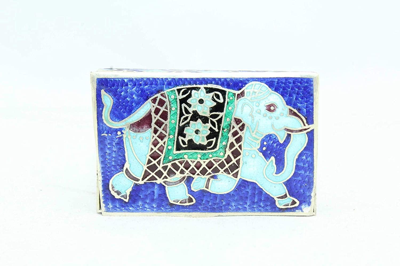 Rajasthan Gems Handmade Trinket Box 925 Sterling Silver Elephant Old Enamel Color Cloisonne - 9
