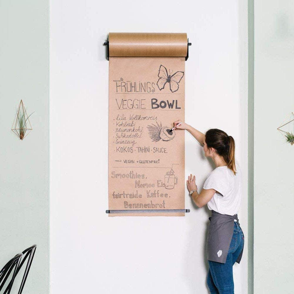 Wall Mounted Kraft Paper Dispenser & Cutter: Includes 50/100 Meter Long Kraft Paper Roll - Perfect for To-Do Lists, Daily Specials, Menus and other Note t Taking (27 Inches Wide),Bracket+kraftpaper50m