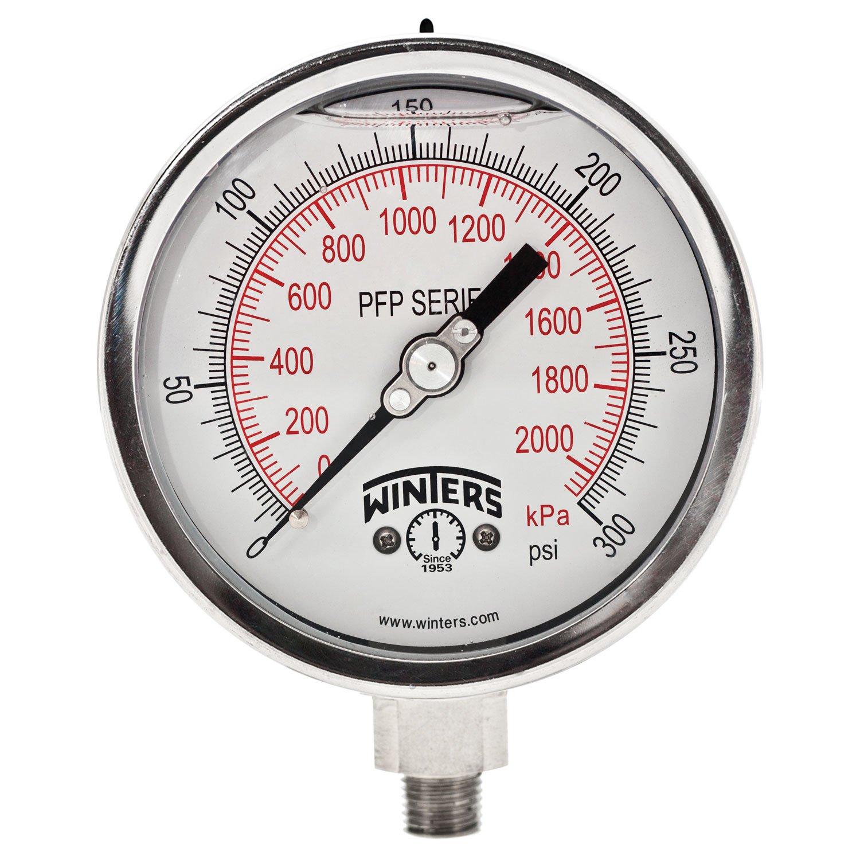 Winters PFP Series Premium Stainless Steel 304 Dual Scale Liquid Filled Pressure Gauge, 0-300 psi/kpa, 4