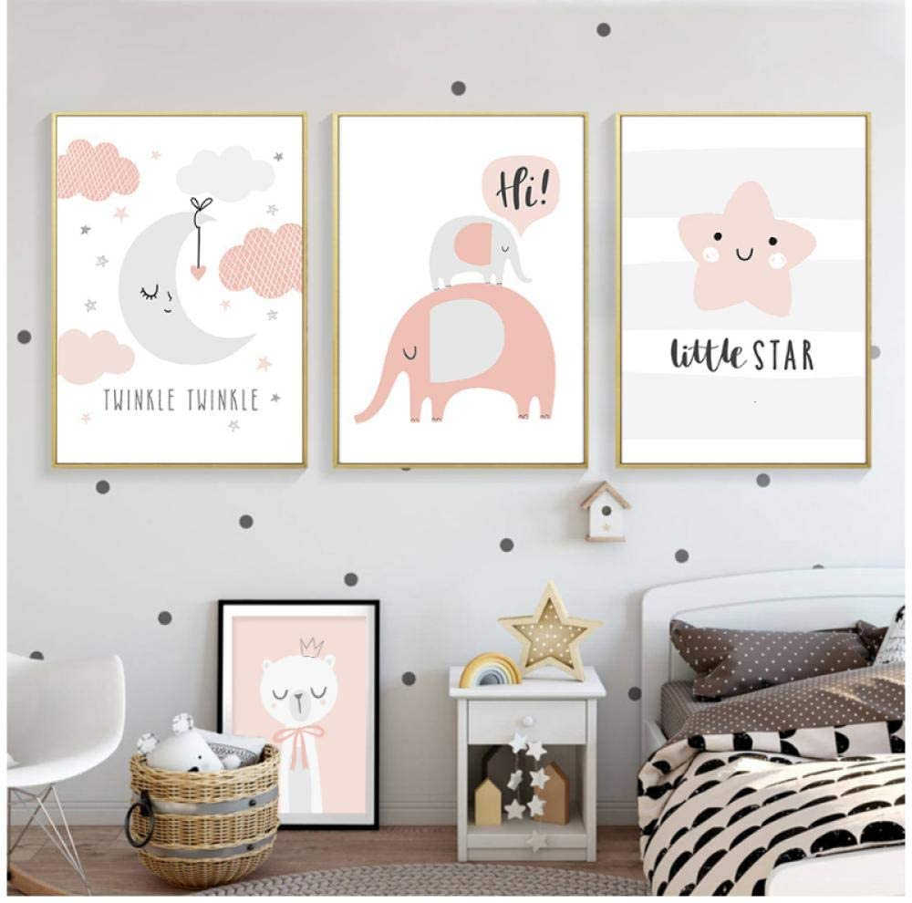 GHDSF Cartoon Cute Elephant Nursery Decor New Baby Gift Canvas Painting Light Pink Wall Art Picture Poster Print Boy Room Home Decor-50x70cmx3 Pcs No Frame