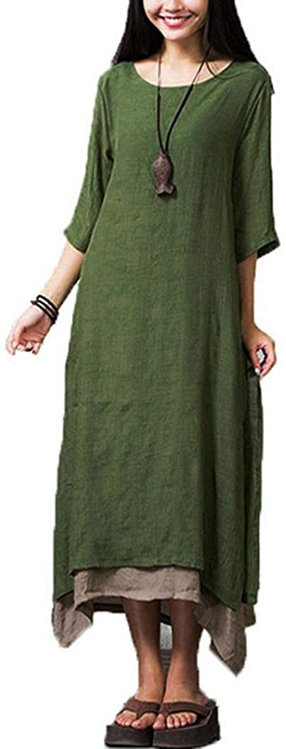 FUNIC Women's Cotton Linen Thin Section Baggy Loose Large Size Long Dresses