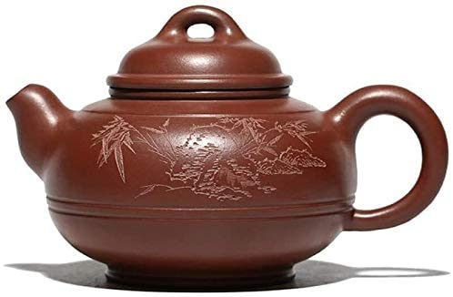 RANRANJJ Zisha Teapot Master Handmade Chinese Health Purple Clay Kung Fu Tea Set XiShi Pot,480ml Bamboo Forest Carving Round Shaped,Handmade Purple Clay Ceramic Tea Pot