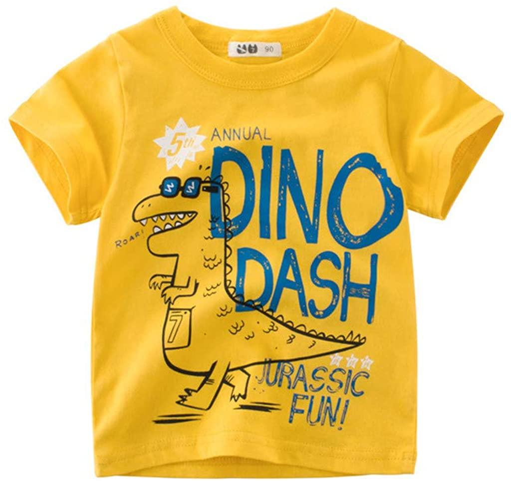 IZHH Children Kids Baby Clothes Unisex Summer Cotton Short Sleeve Cartoon Print T-Shirt Tee Tops Clothes Outfits