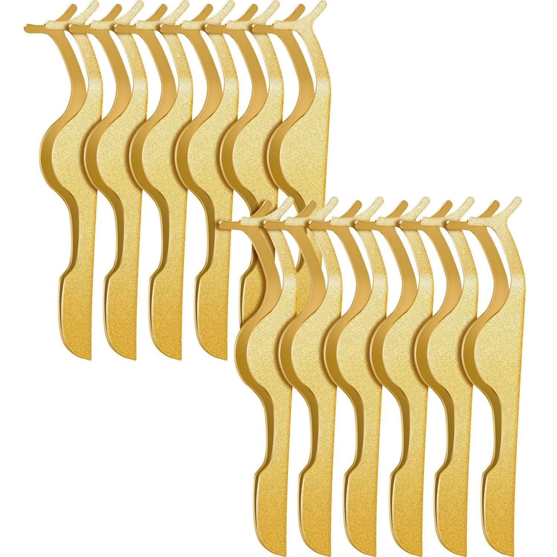 12 Pieces False Eyelashes Applicator Tool Stainless Steel Eyelash Extension Tweezers Remover Clip Tweezers Nipper Eyelash Makeup Tools for Women Eyelash Application and Removal (Gold)