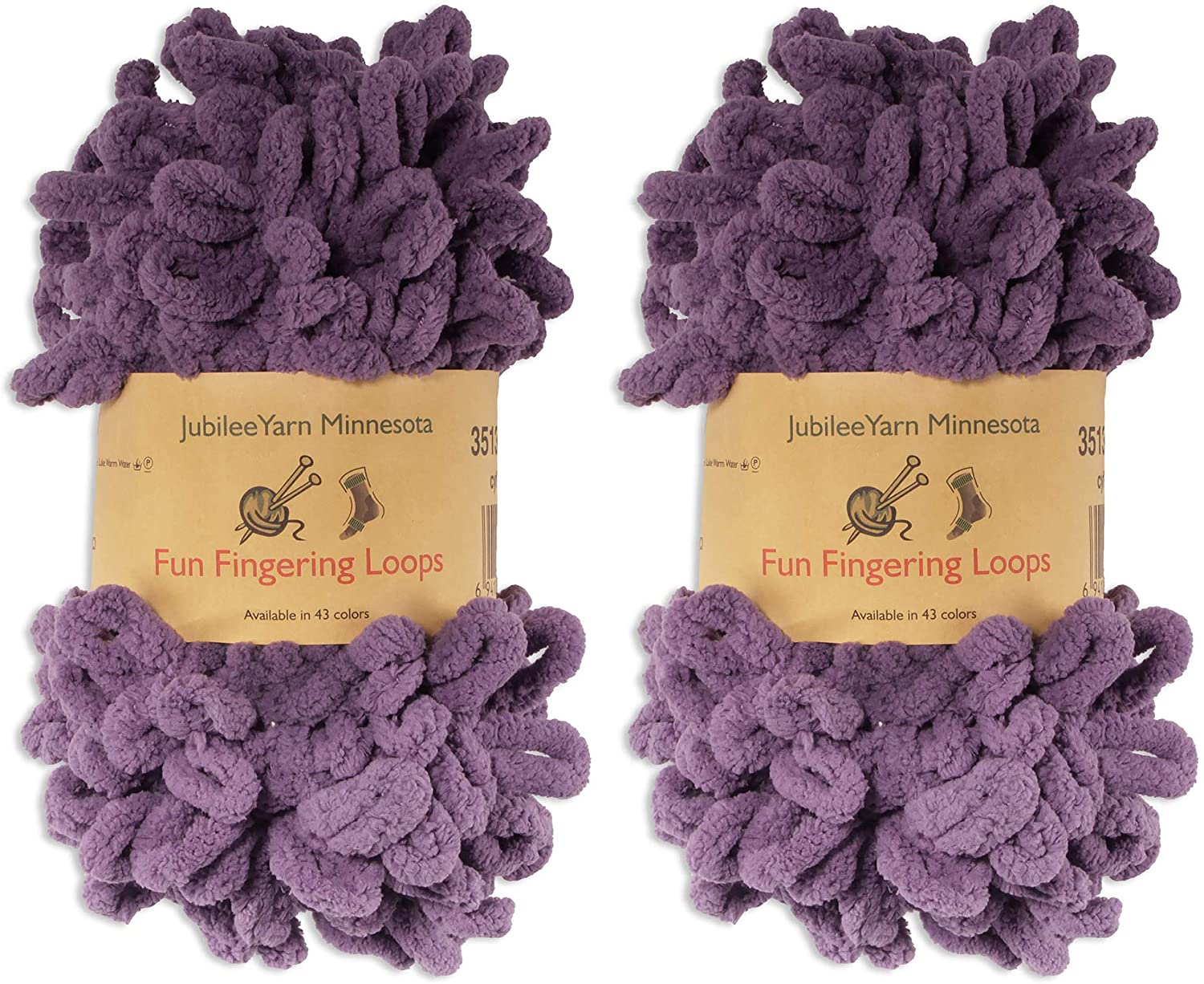 BambooMN Finger Knitting Yarn - Fun Finger Loops Yarn - 100% Polyester - Grape Compote - 2 Skeins