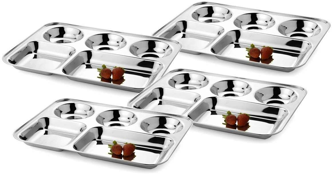 Khandekar Stainless Steel Five Compartment Rectangle Plates, Thali, Mess Tray, Dinner Plate Set of 4 - Silver, 13.5 inch (34 cm)