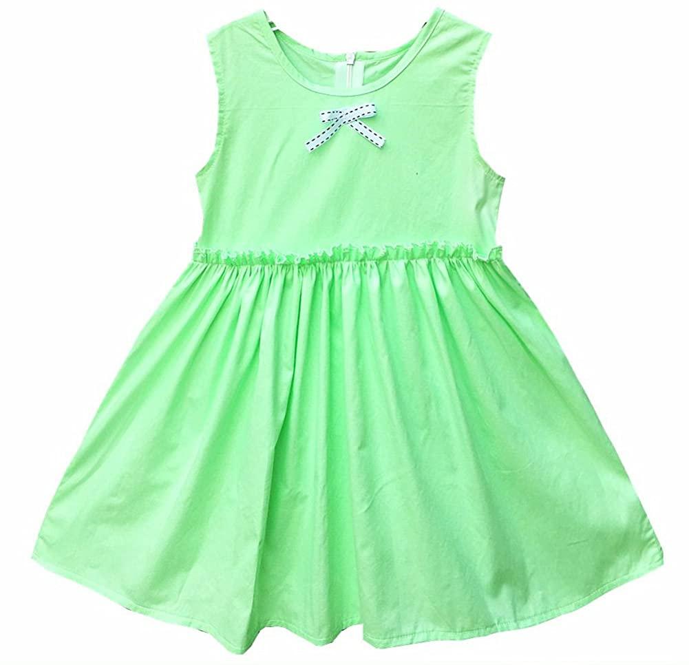 Kseniya Kids Little Big Girls Bow Round Neck Sleeveless Princess Dress