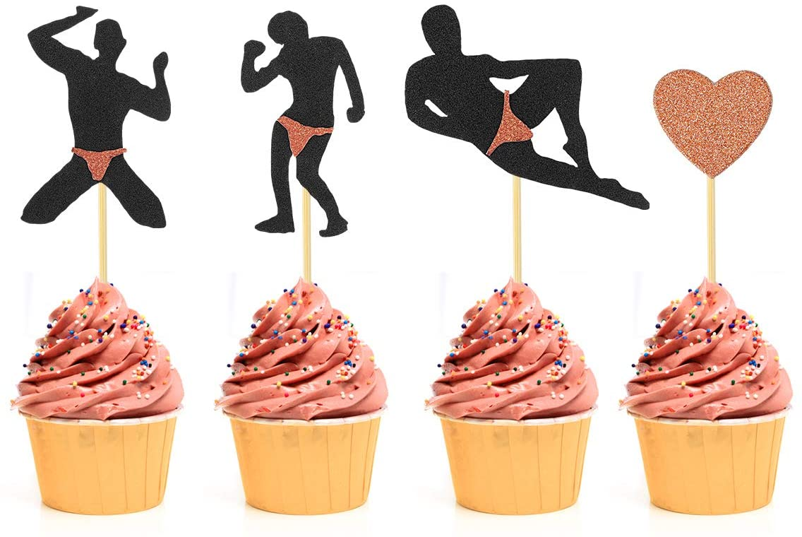 Bachelorette Party Cupcake Toppers - 40Pcs - Rose Gold Male Dancers Strippers Cupcake Toppers - Hen Party Cupcake Topper - Bachelorette Party Bridal Shower Decoration Supplies