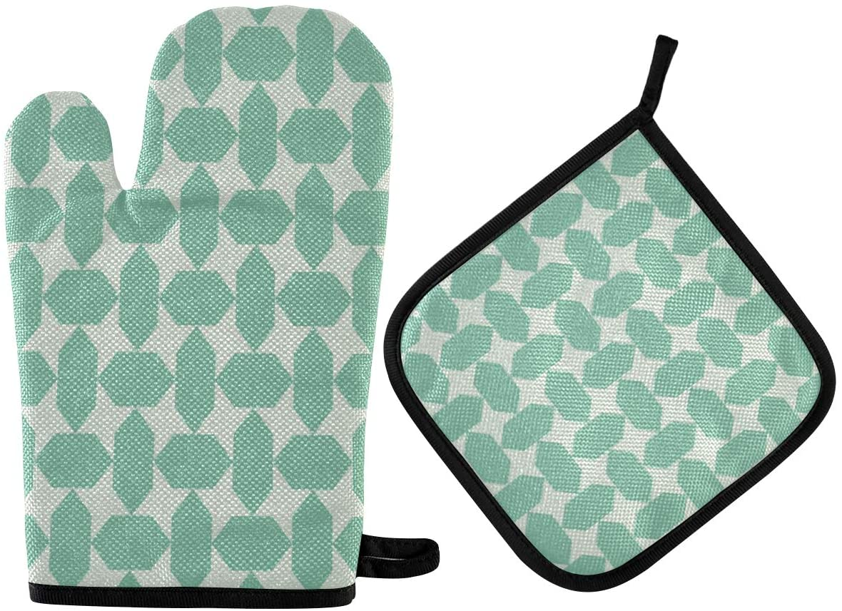 N\ A Turquoise Vintage Geometrical Diamond Oven Mitts and Potholder Set-Heat Resistant Oven Gloves to Protect Hands and Surfaces with Non-Slip Grip, Hanging Loop for Handling Hot Cookware Items