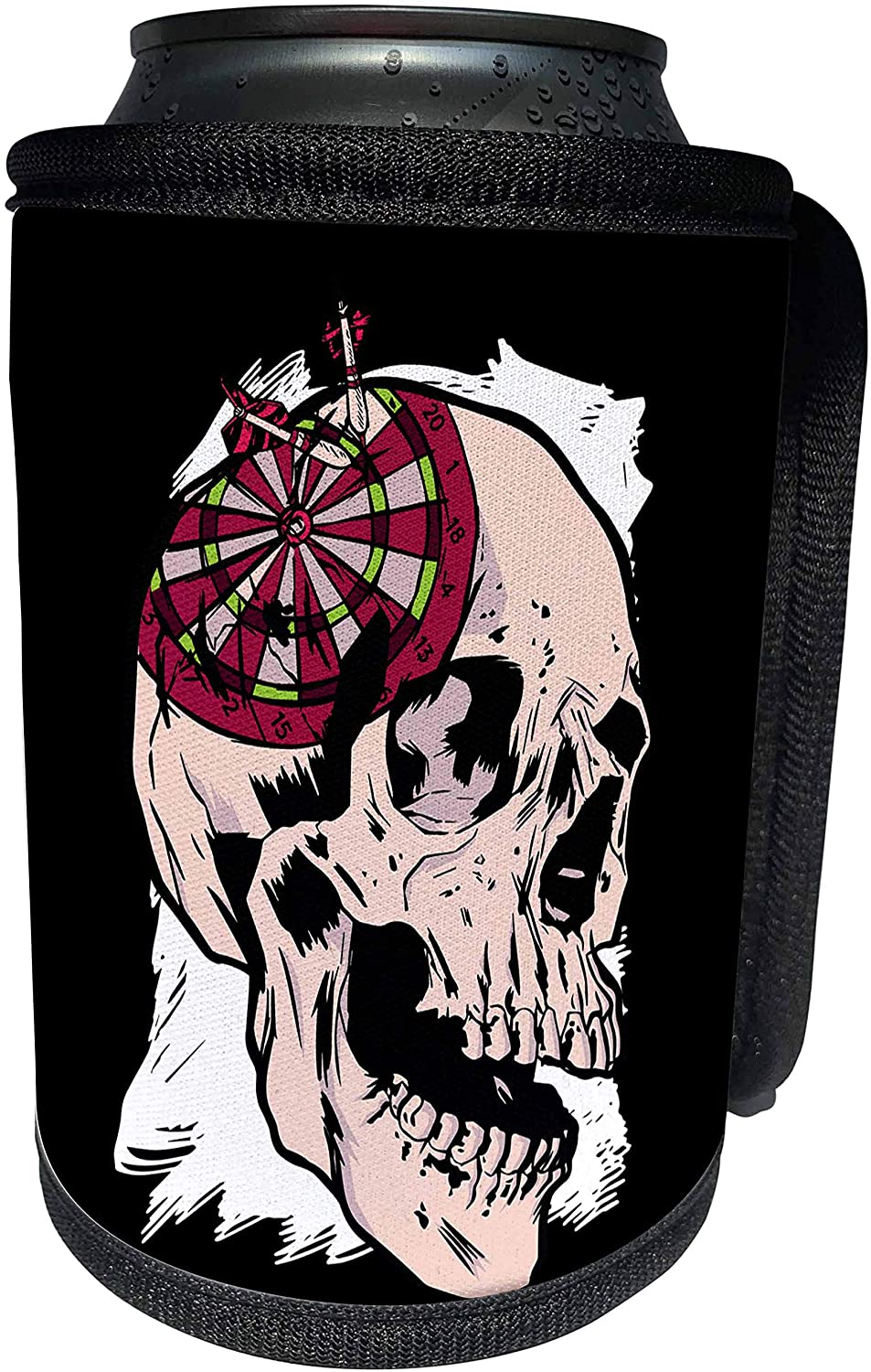 3dRose Sven Herkenrath Sport - Skull Horror Skeleton with Darts Board for Player and Lover - Can Cooler Bottle Wrap (cc_324375_1)