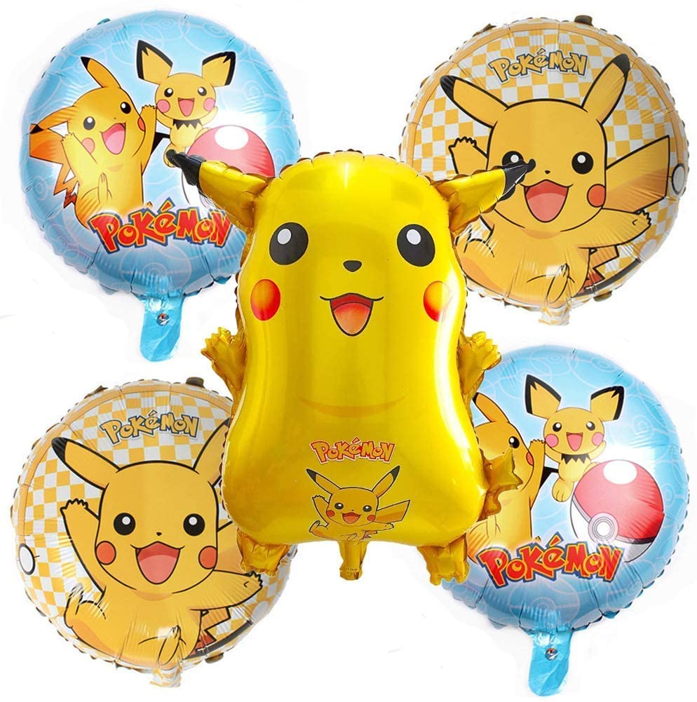 5 PCS - LOVSONG Birthday Party Balloons - Pikachu Friends and Pokeball Balloon - Adult & Kids Party Theme Decorations
