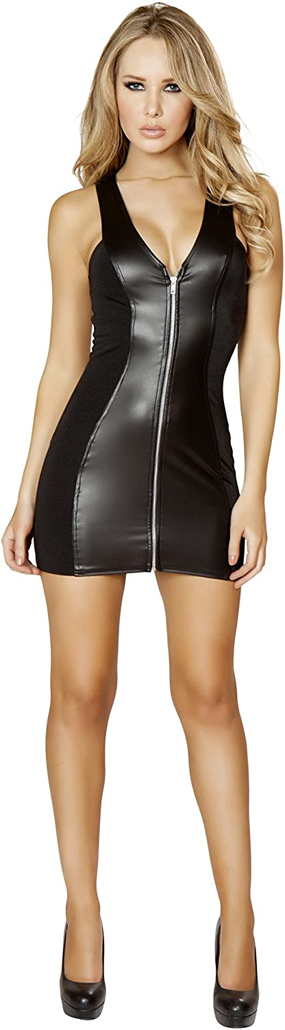 Roma Women's Mini Dress with Full Zip Up Front