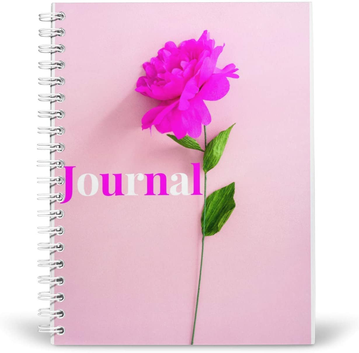 Pink Flower Journal/Notebook 5.5x8.5 Coil Bound 196 lined pages, spiral journal/notebook