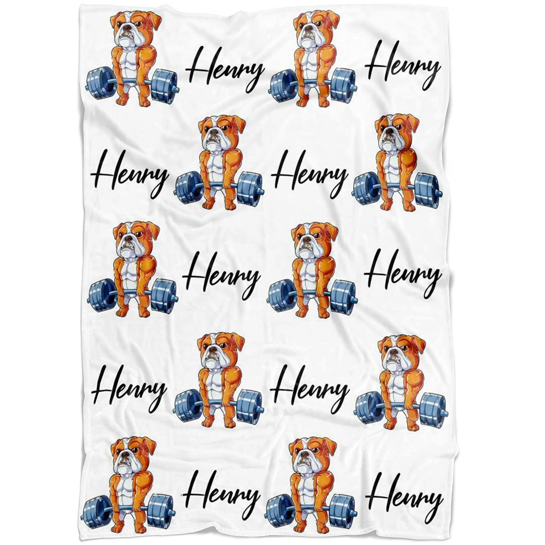 Personalized Baby Blanket - Cute Bulldog Baby Blanket - Bulldog Weightlifting Baby Boy Blanket - Personalized Name Blanket - Gift for Baby Boy - Dog Baby Blanket - Custom Dog Baby Blanket (50x60)