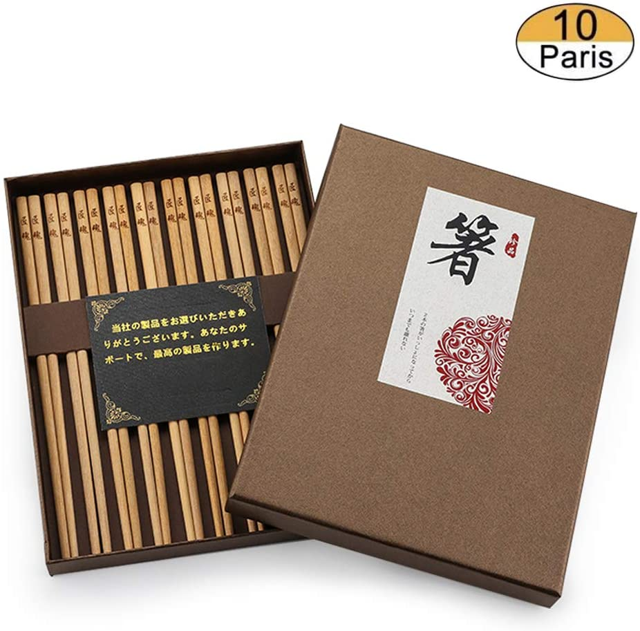 Napo Japanese Cooking Chopsticks Natural Wooden No Paint Premium Material Reusable 10 Pairs Gift Set