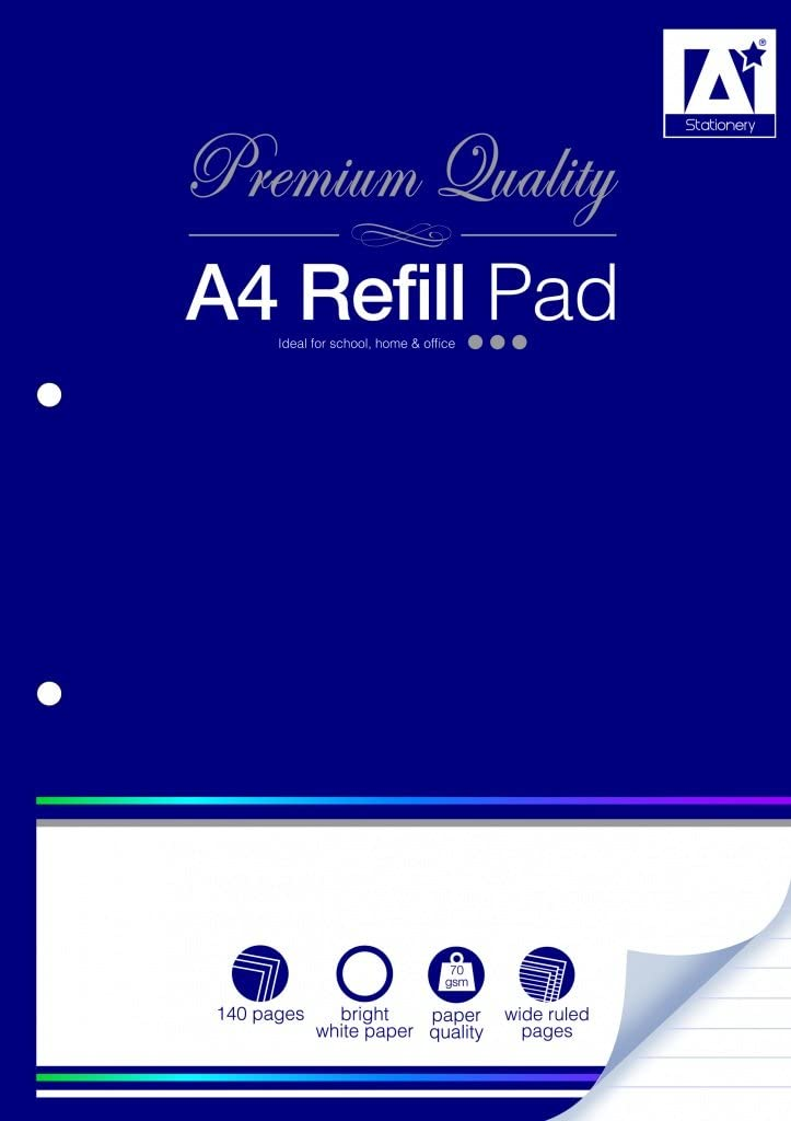 140 Page A4 Wide Ruled Refill Pad